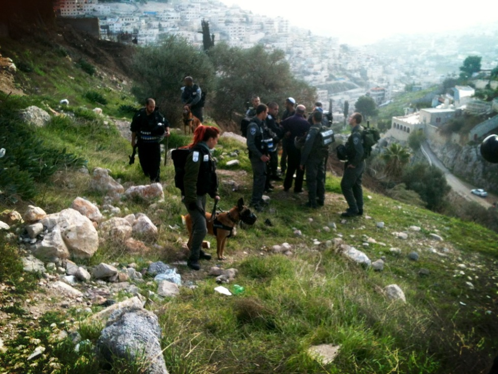 Israeli police surround the Palestinian man who had descended the hill, Silwan, 2013.