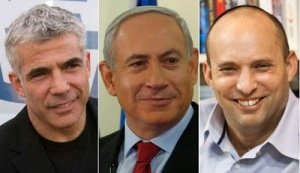 Netanyahu with Lapid and Bennett