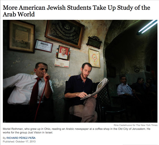 """Jerusalem, we made the headlines of the New York Times..."""