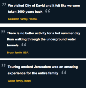 Not only does the City of David offer amazing tours, help visitors cool off in summer, and function as a time machine, it also generates a striking amount of testimonial unity for generically named Jewish families around the world!