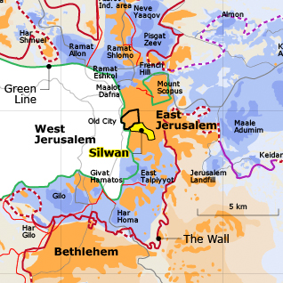 Silwan, highlighted in Yellow, across the Green Line.
