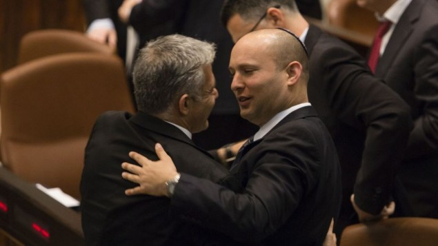 Yair Lapid snuggling with Extreme Rightist Naftali Bennett