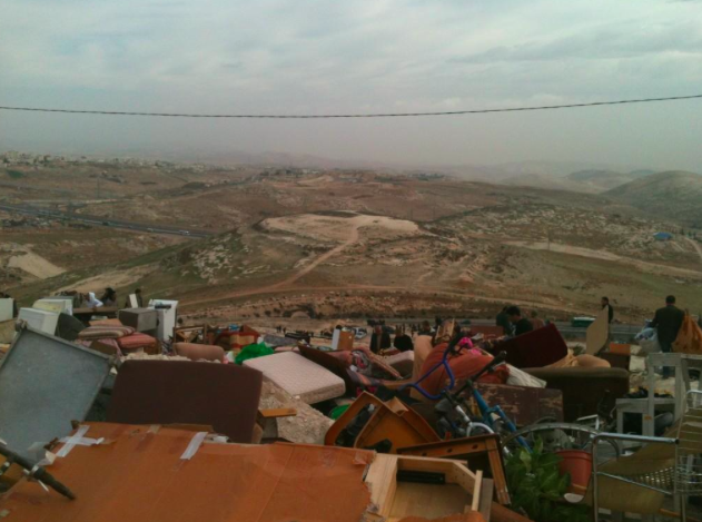 View of the E1 Settlement Area from A-Tur, Jerusalem, where a family's belongings are strewn on the hillside, in preparation for potential demolition (2012)