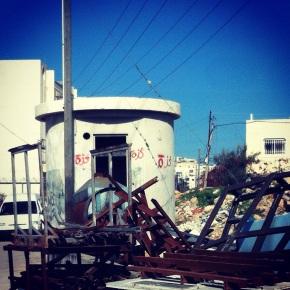 "On an abandoned IDF ""pillbox"" in Hebron, someone sprayed, in Arabic, ""Gaza Gaza Gaza."""