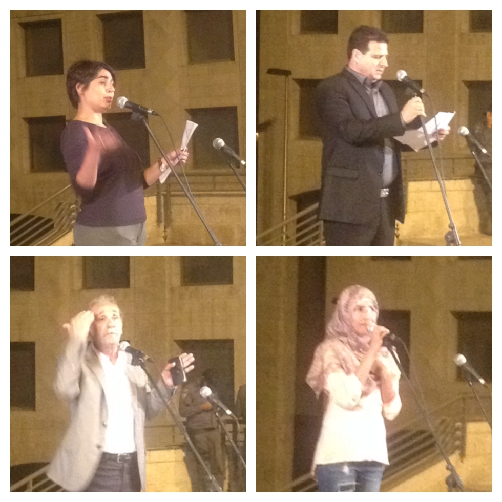 Clockwise, from top left: Orly Noy, Ayman Odeh, Huda Abu Obaid & Reuven Abergil